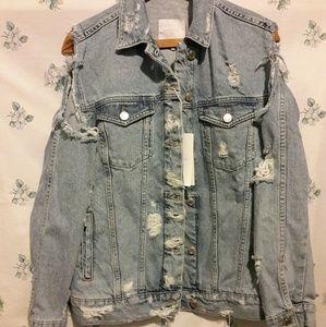 NWT Zara Cold shoulder Demin Jacket